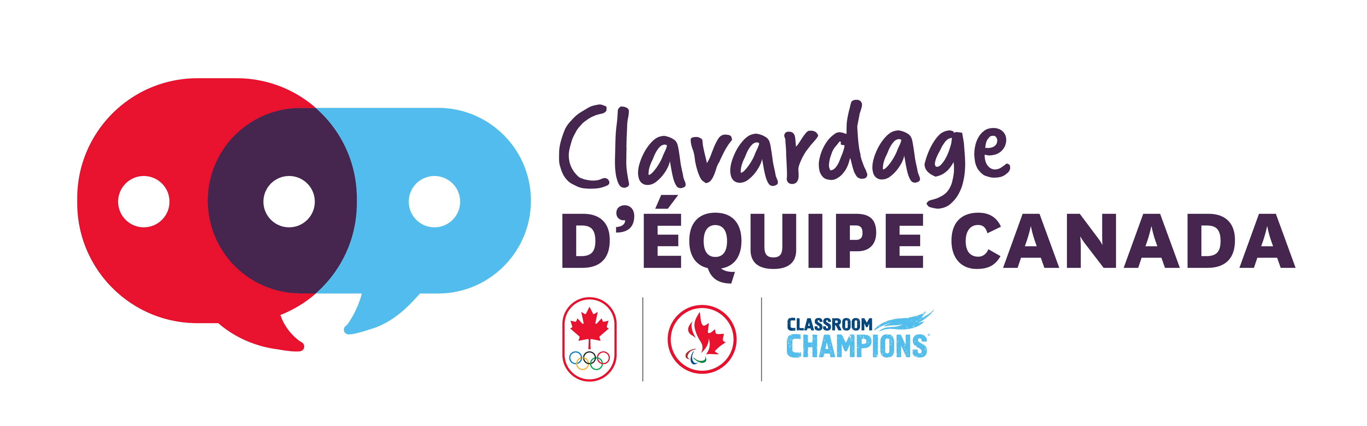 Team Canada Champion Chats logo with two conversation bubbles with the COC, CPC, and Classroom Champions logos