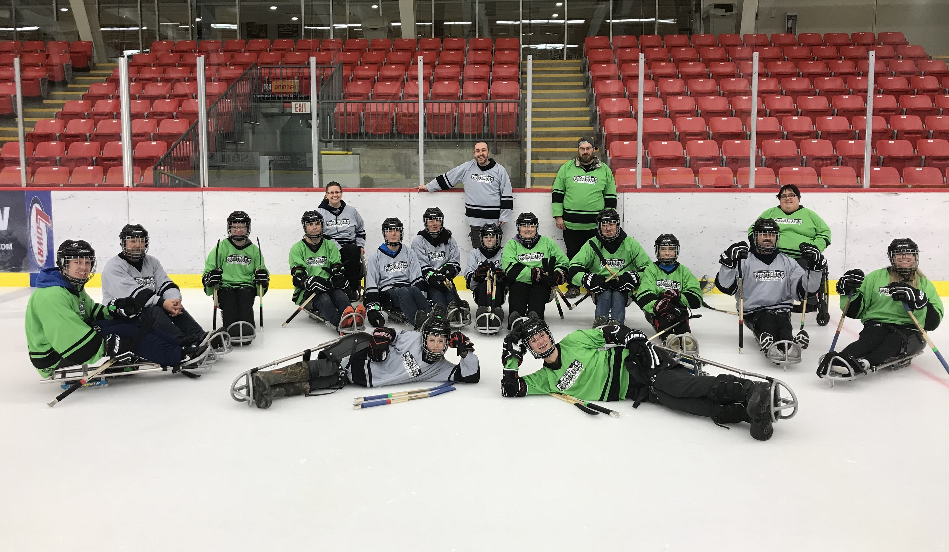 A group of Para ice hockey players part of the Northern Adapted Sports Association in Prince George a