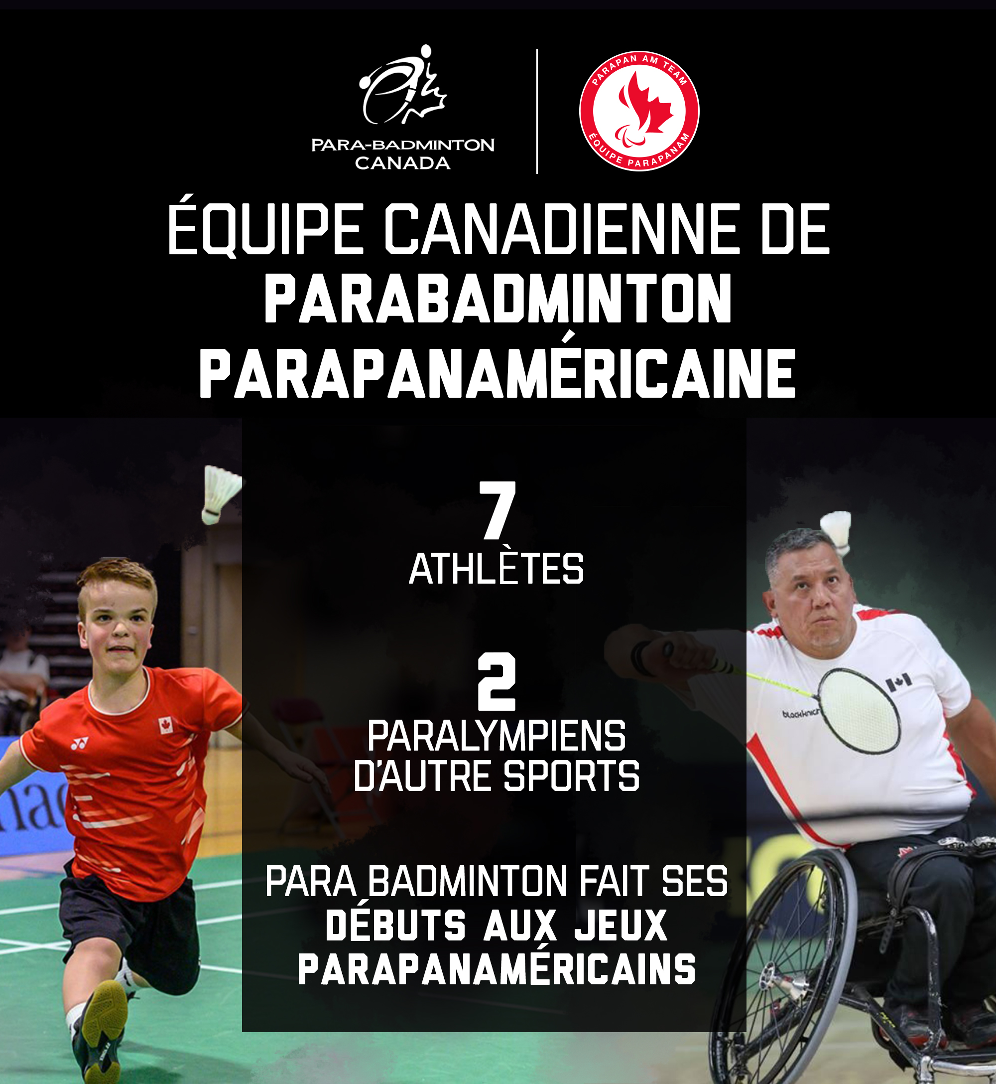 A graphic showing the make-up of the Canadian Parapan Am Badminton Team