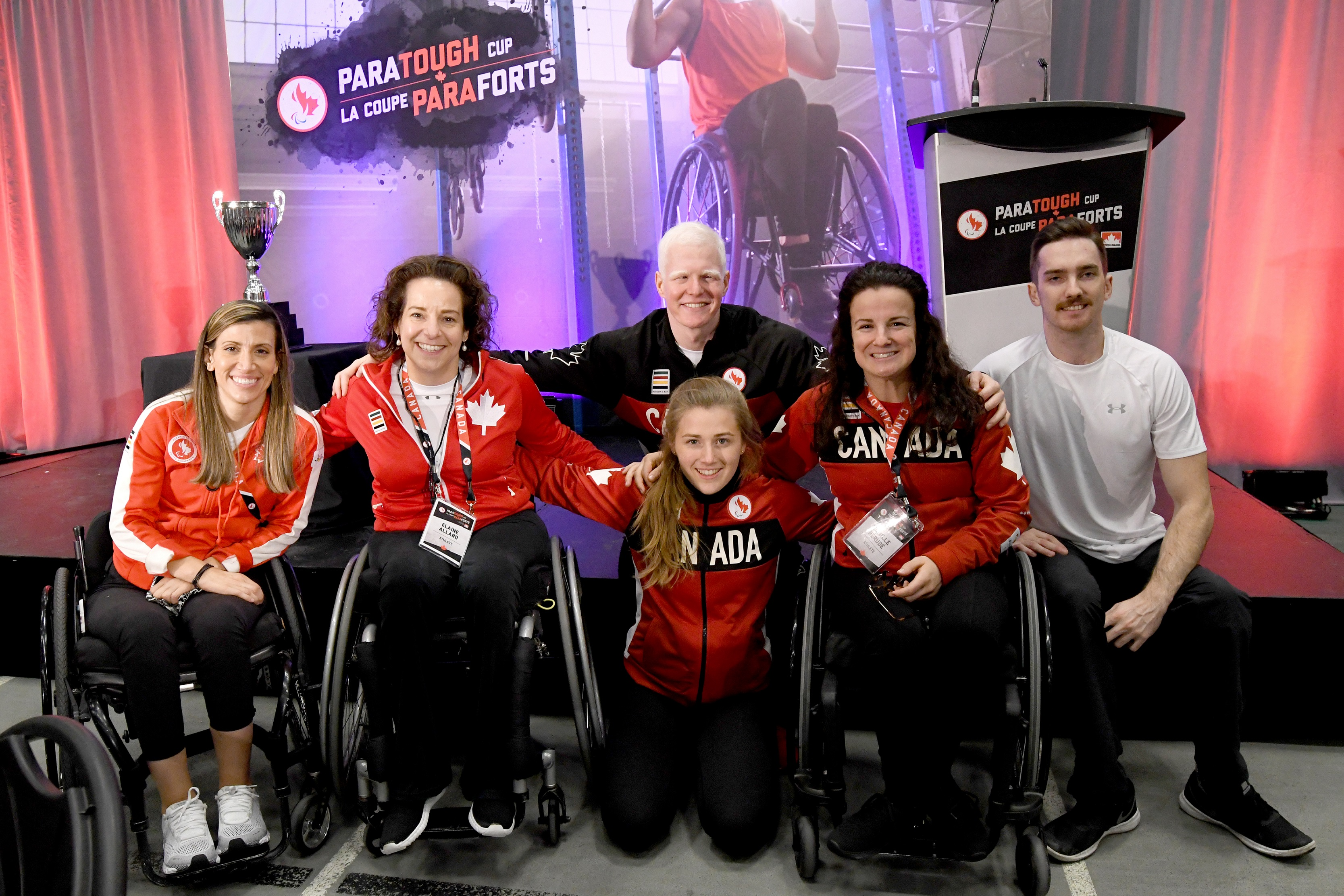 Melanie Labelle, Elaine Allard, Nicolas-Guy Turbide, Abi Tripp, Camille Berube, and Rob Armstrong at the 2019 Montreal ParaTough Cup.