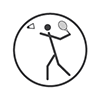Para badminton - Stick person throwing the birdie in the air about to serve (grey and white)