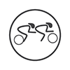 Road Cycling - Stick people racing in a tandem (2 person) bicycle (grey and white)