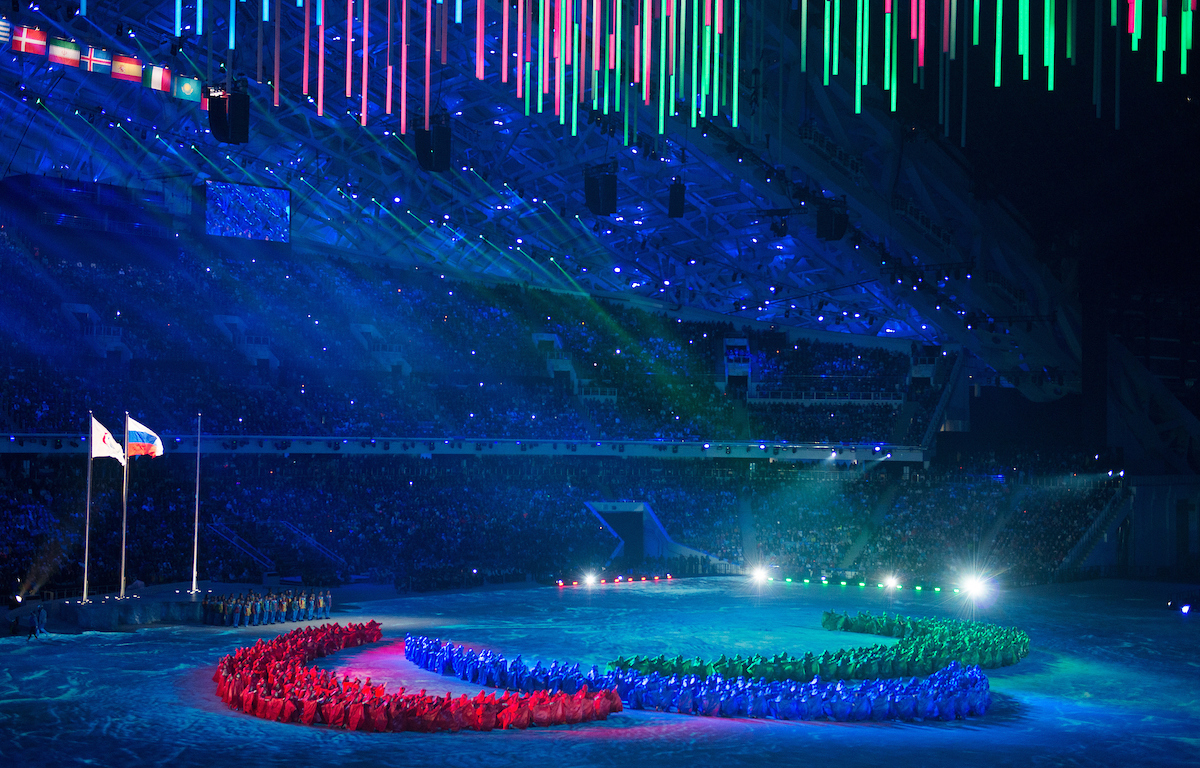 IPC logo made out of people at the Sochi closing cereomies