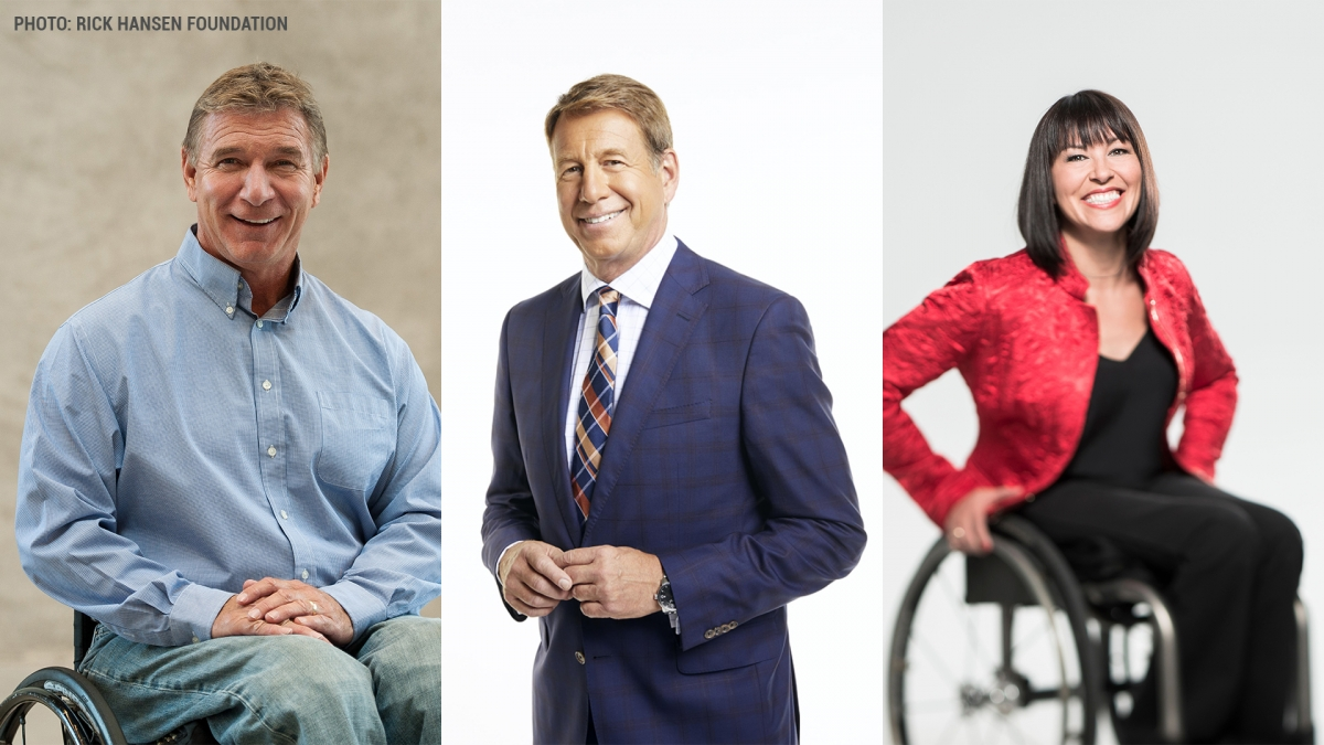 Three photos side-by-side of Rick Hansen, Scott Russell, and Chantal Petitclerc.