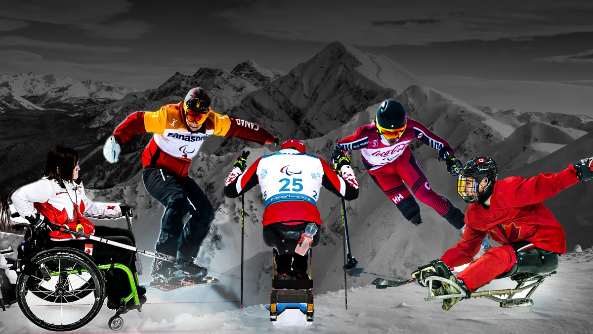 An image showing athletes from all five Paralympic winter sports (wheelchair curling, Para snowboard, Para nordic skiing, Para alpine skiing, and Para ice hockey)