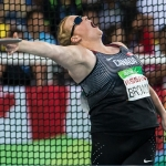 Jen Brown throwing a discuss in Rio