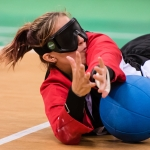 Meghan playing goalball