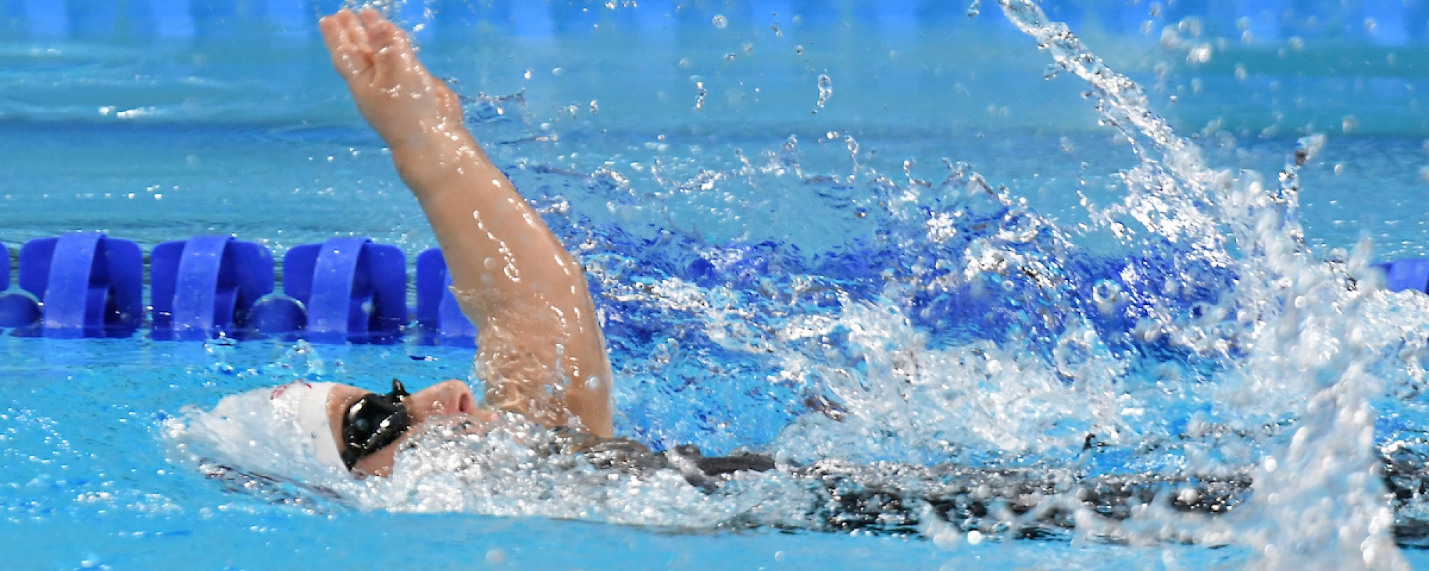 Clemence Pare  swims at the Parapan Ams in Lima