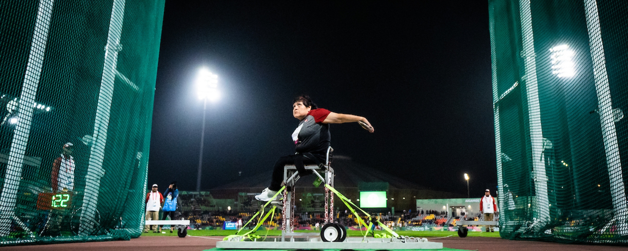 Martha Sandoval Gustafson competes in women's discus throw F53