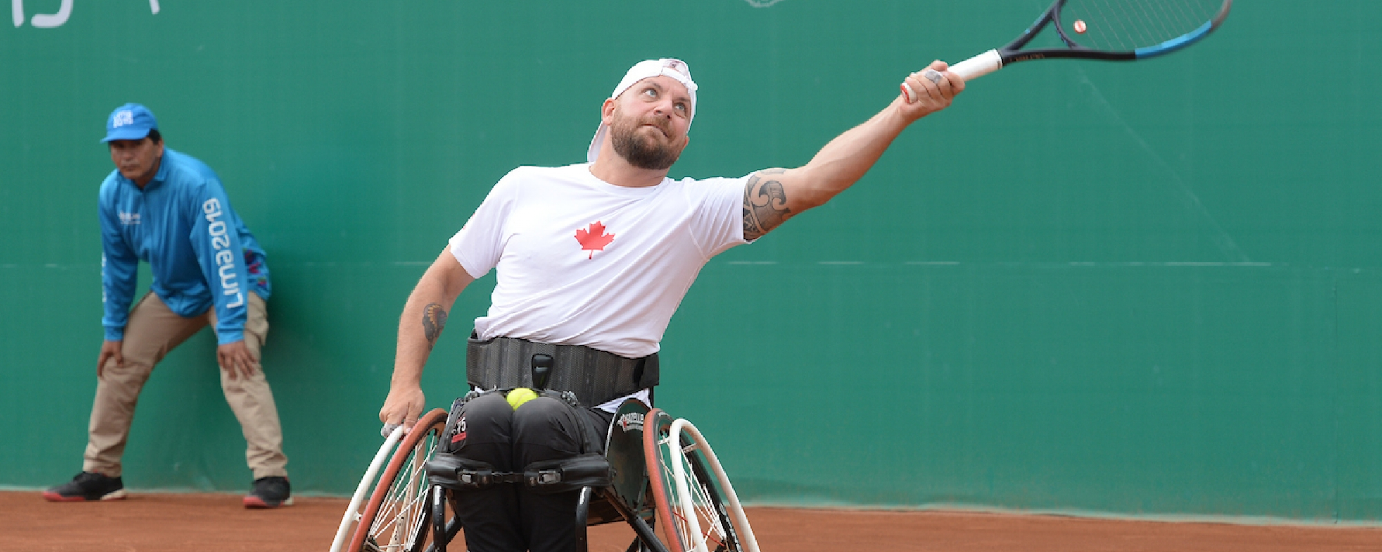 Mitch McIntyre competes in wheelchair tennis at Lima 2019