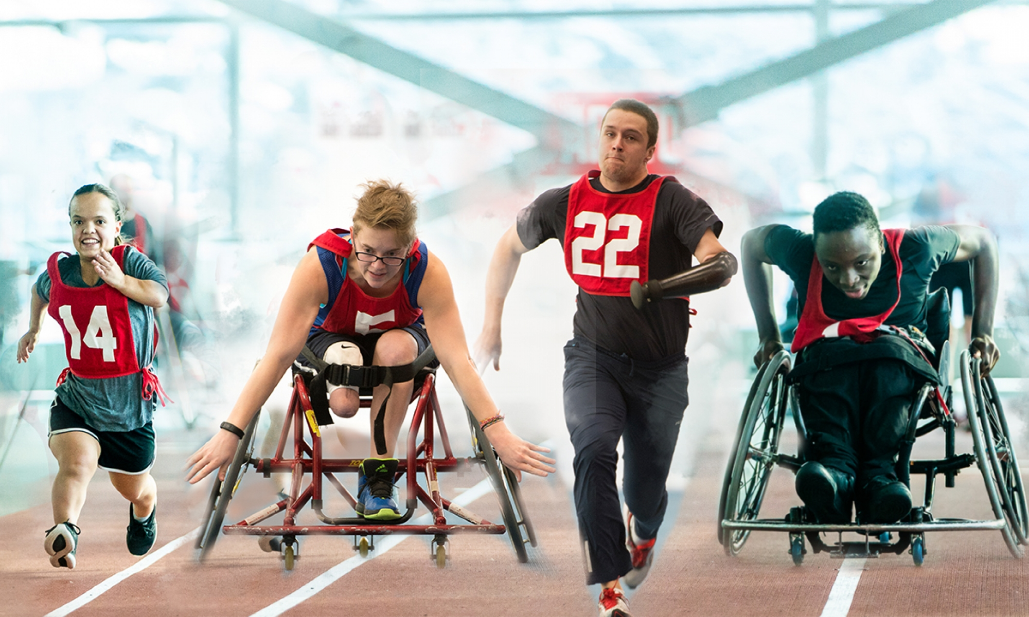 athletes running in wheelchairs, upper limb impairment,and short stature