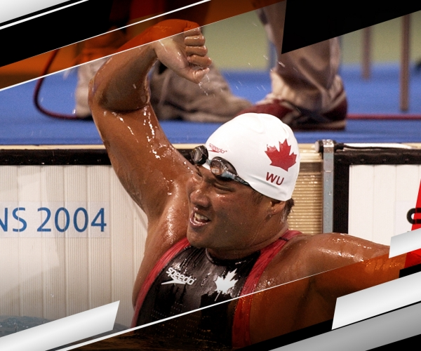 Swimmer Walter Wu celebrates after winning a race at the Athens 2004 Paralympic Games