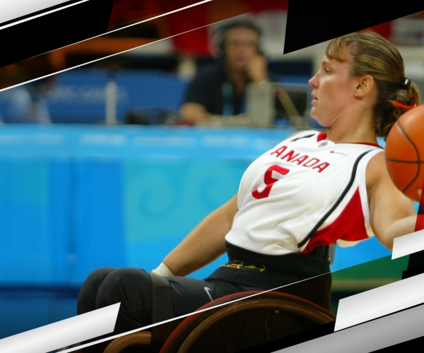Marni Abbott-Peter competes in wheelchair basketball
