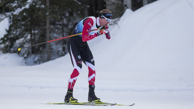 Mark Arendz in action at the 2019 World Para Nordic Skiing Championships