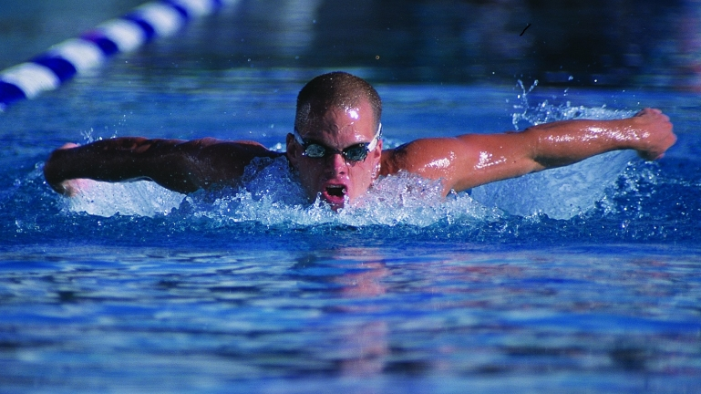 Andrew Haley competes in the butterfly at the Paralympic Games.