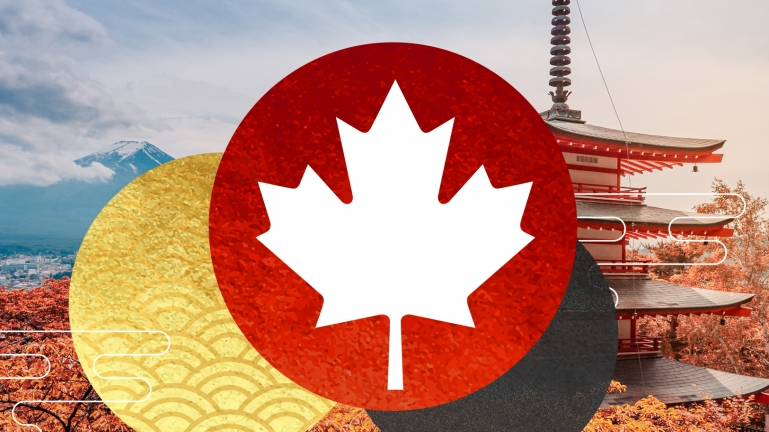 A graphic showing the maple leaf in front of Tokyo scenery