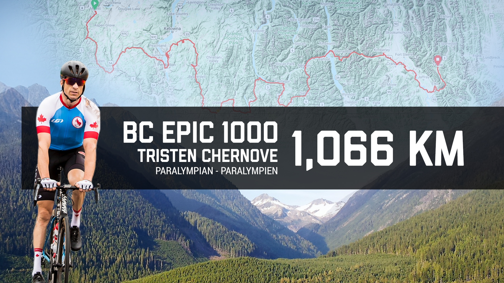 An image of Tristen Chernove on a bike overlaid on the BC Epic 1000 route