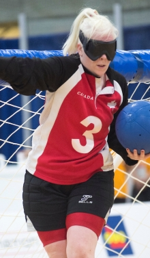 Whitney playing goalball