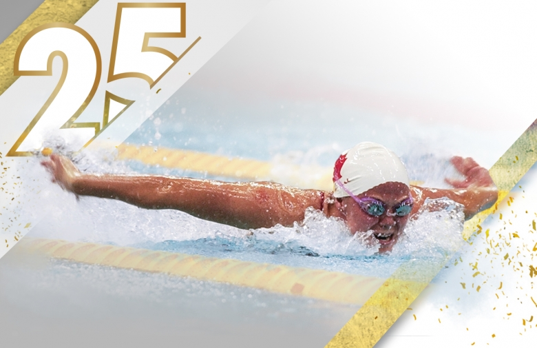 Stephanie Dixon competing in swimming at the Paralympic Games with the Pfizer 25 year celebration design overlaid on the image.