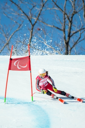 Mollie Jepsen skis in the super-G portion of the super combined at the Jeongseon Alpine Centre during the 2018 Winter Paralympic Games in Pyeongchang, Korea